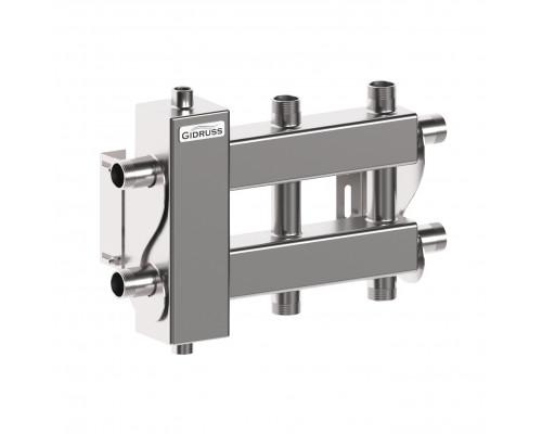 BMSS-60-3D (нерж., до 60 кВт, подкл. котла G 1″, 2+1 контура G 1″, 4D-кронштейны K.UMS, зеркальная полировка)